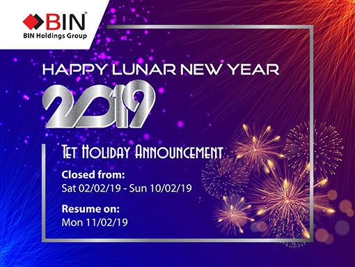 BIN Holdings-Thông báo nghỉ lễ Tết Nguyên Đán-2019
